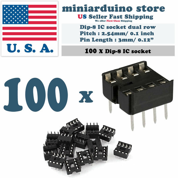 100pcs Dip-8 IC Socket Solder Type Double Row 8PIN DIP Integrated Circuit - arduino - Business & Industrial:Electrical Equipment & Supplies:Wire & Cable Connectors:IC Sockets