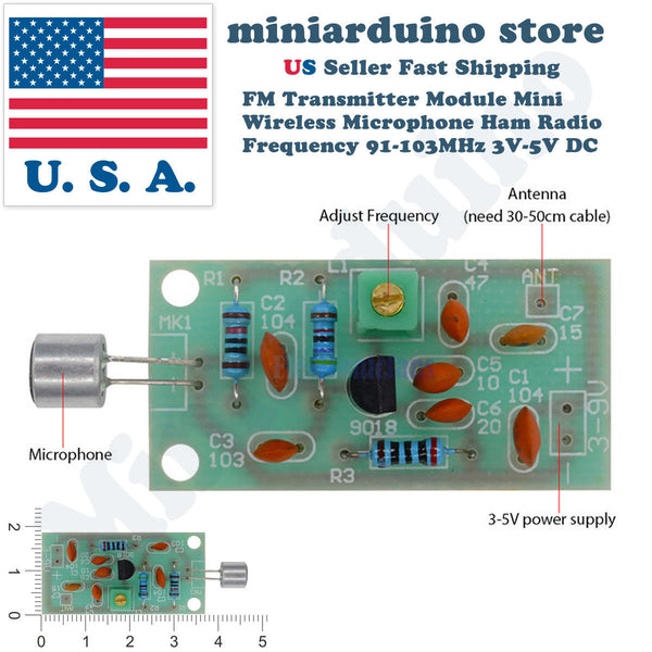 Mini Wireless Microphone Ham Spy Radio Transmitter Module 3-5V 91-103MHz - arduino - Business & Industrial:Electrical Equipment & Supplies:Electronic Components & Semiconductors:Other Electronic Components