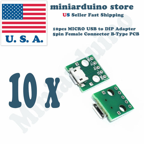 10pcs MICRO USB To DIP Adapter 5pin Female Connector Pcb Converter DIY Kit mini - arduino - Business & Industrial:Electrical Equipment & Supplies:Electronic Components & Semiconductors:Circuit Boards & Prototyping:Other Circuit Boards & Prototyping
