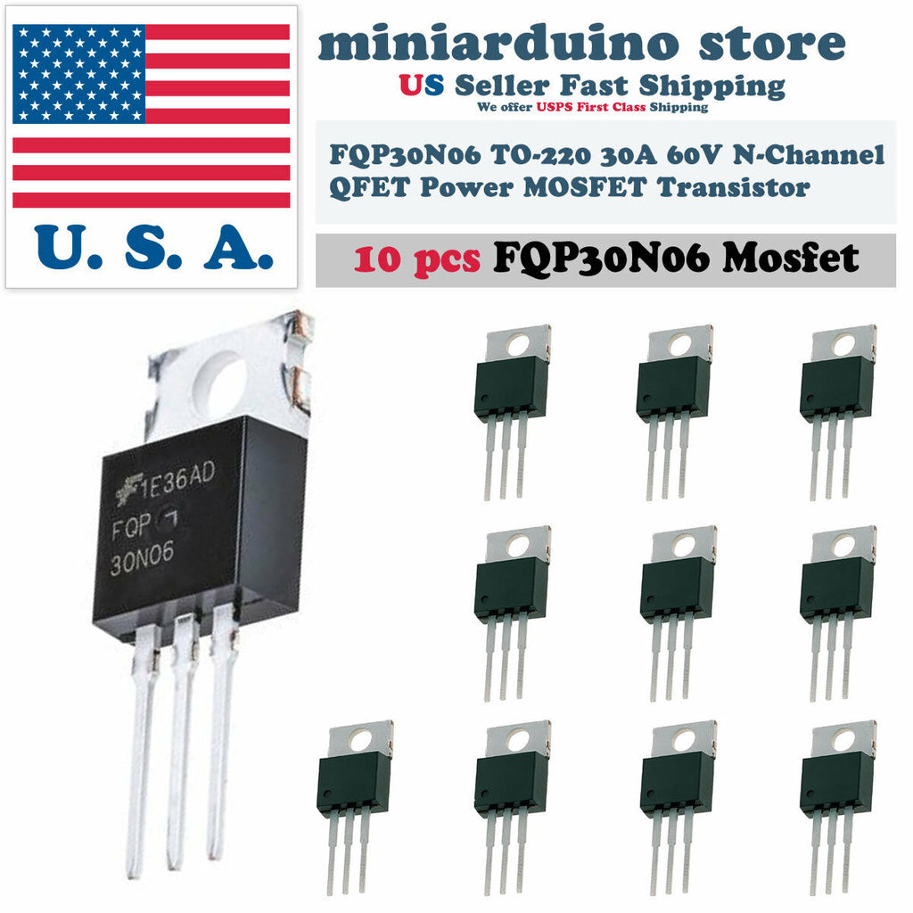 10 x FQP30N06 Transistor Power MOSFET N Channel 60V 30A 50N06 Fairchild - arduino - Business & Industrial:Electrical Equipment & Supplies:Electronic Components & Semiconductors:Semiconductors & Actives:Transistors