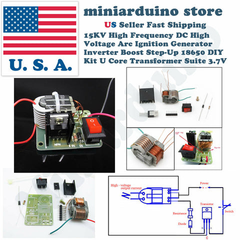15KV High Voltage Inverter Generator Spark Arc Ignition Coil Module DIY Kit 3.7V - arduino - Business & Industrial:Electrical Equipment & Supplies:Electronic Components & Semiconductors:Semiconductors & Actives:Power Regulators & Converters