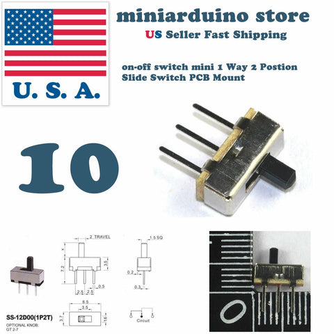 10pcs on-off switch mini 1 Way 2 Postion Slide Switch PCB Mount Electronics - arduino - Business & Industrial:Electrical Equipment & Supplies:Switches:Slide Switches