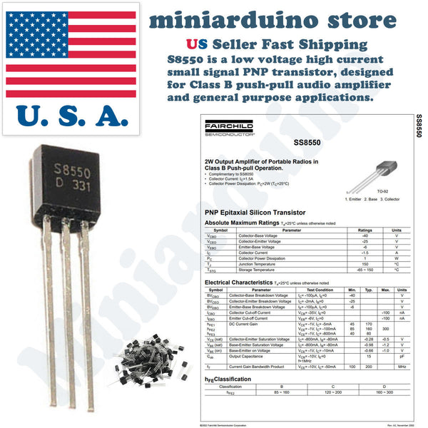 25pcs S8550C S8550 1.5A 0.625W Output amplifier TO-92 PNP Transistors USA - arduino - Business & Industrial:Electrical Equipment & Supplies:Electronic Components & Semiconductors:Semiconductors & Actives:Transistors