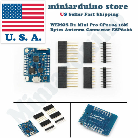 WEMOS D1 Mini Pro V1.1.0 16M Bytes External Antenna Connector ESP8266 WIFI IoT - arduino - Business & Industrial:Electrical Equipment & Supplies:Electronic Components & Semiconductors:Semiconductors & Actives:Development Kits & Boards