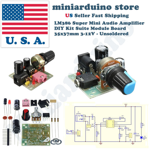 LM386 Super Mini Audio Amplifier  DIY Kit Board  35x37mm 3-12V - Unsoldered - arduino - Business & Industrial:Electrical Equipment & Supplies:Electronic Components & Semiconductors:Semiconductors & Actives:Integrated Circuits (ICs):Power Management ICs