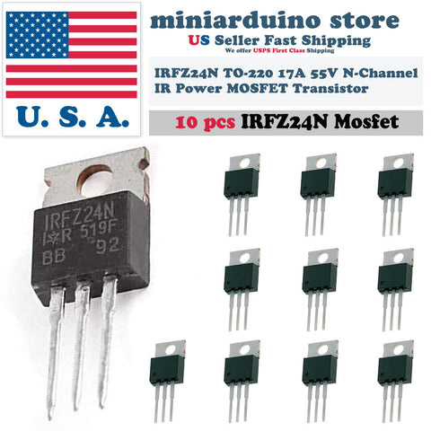10pcs IRFZ24N IRFZ24 Power MOSFET Transistor HEXFET 17A 55V Fast Switching IR - arduino - Business & Industrial:Electrical Equipment & Supplies:Electronic Components & Semiconductors:Semiconductors & Actives:Transistors