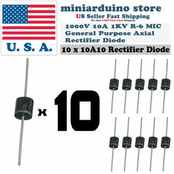 10pcs 10A10 10A 1000V 1KV Axial Rectifier Diode MIC - arduino - Business & Industrial:Electrical Equipment & Supplies:Electronic Components & Semiconductors:Semiconductors & Actives:Diodes:Other Diodes