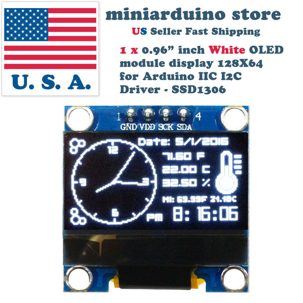 "0.96"" I2C IIC 128X64 LED OLED LCD  Display Module Arduino White Color SSD1306 US - arduino - Business & Industrial:Electrical Equipment & Supplies:Electronic Components & Semiconductors:LEDs, LCDs & Display Modules:LCD Display Modules"