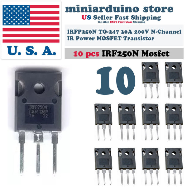 10pcs IRFP250N IRFP250 Power MOSFET N-Channel Transistor 30A 200V TO-247 - arduino - Business & Industrial:Electrical Equipment & Supplies:Electronic Components & Semiconductors:Semiconductors & Actives:Transistors