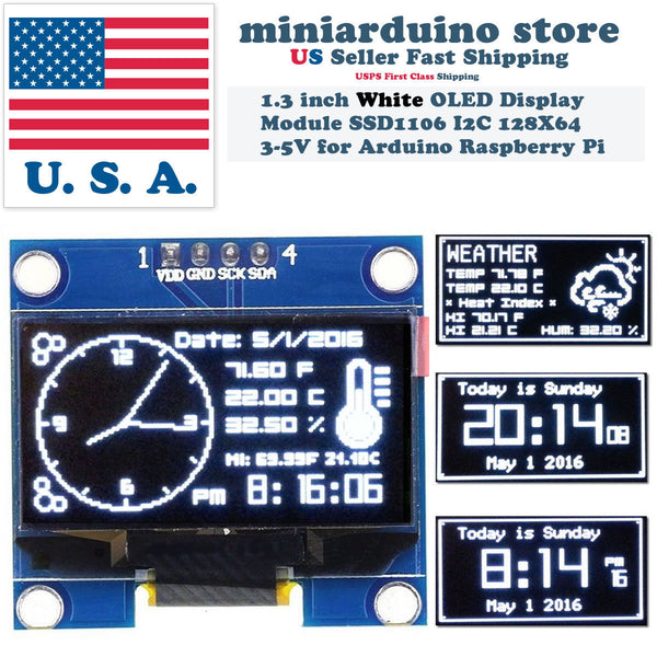 "1.3"" I2C IIC 128X64 LED OLED LCD  Display Module Arduino White Color SSD1106 US - arduino - Business & Industrial:Electrical Equipment & Supplies:Electronic Components & Semiconductors:LEDs, LCDs & Display Modules:LCD Display Modules"