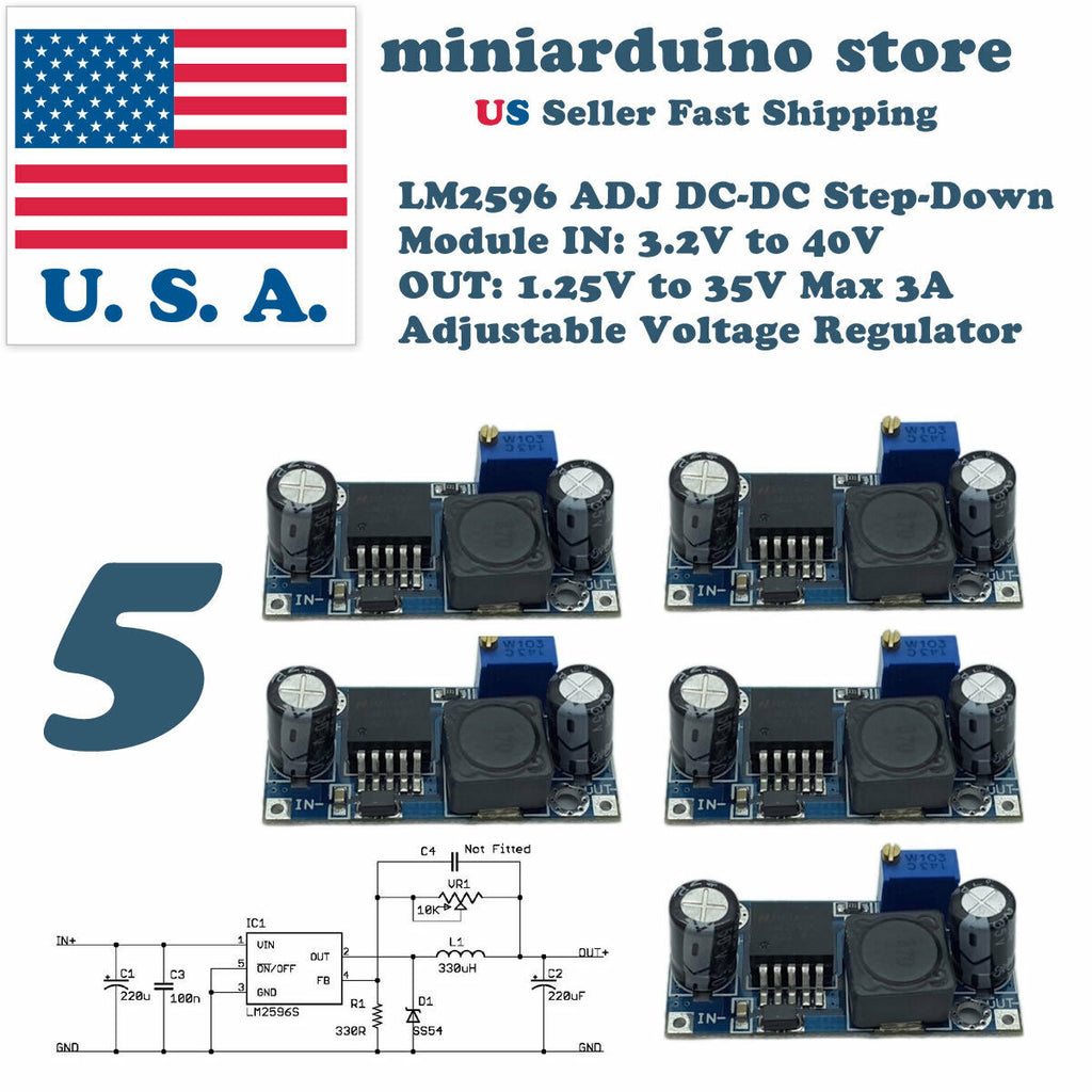 5 x LM2596S DC-DC 3A Buck Converter Adjustable Step-Down Power Supply Module USA - arduino - Business & Industrial:Electrical Equipment & Supplies:Electronic Components & Semiconductors:Semiconductors & Actives:Power Regulators & Converters