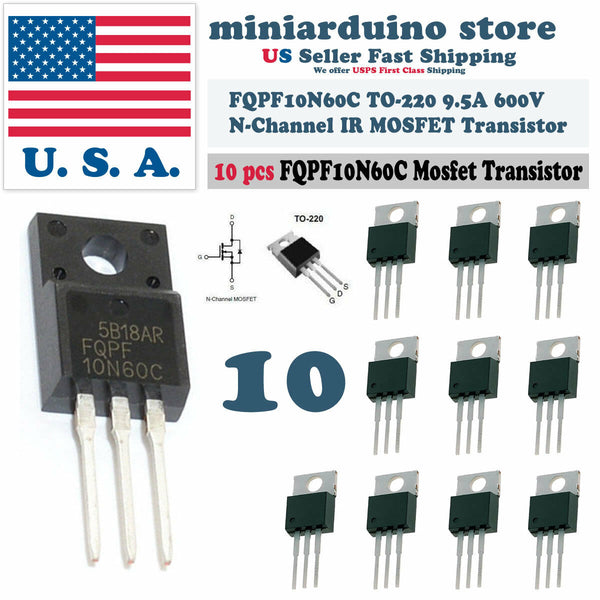 10pcs FQPF10N60C 10N60C 600V N-Channel MOSFET TO-220F IR Power Transistor - arduino - Business & Industrial:Electrical Equipment & Supplies:Electronic Components & Semiconductors:Semiconductors & Actives:Transistors