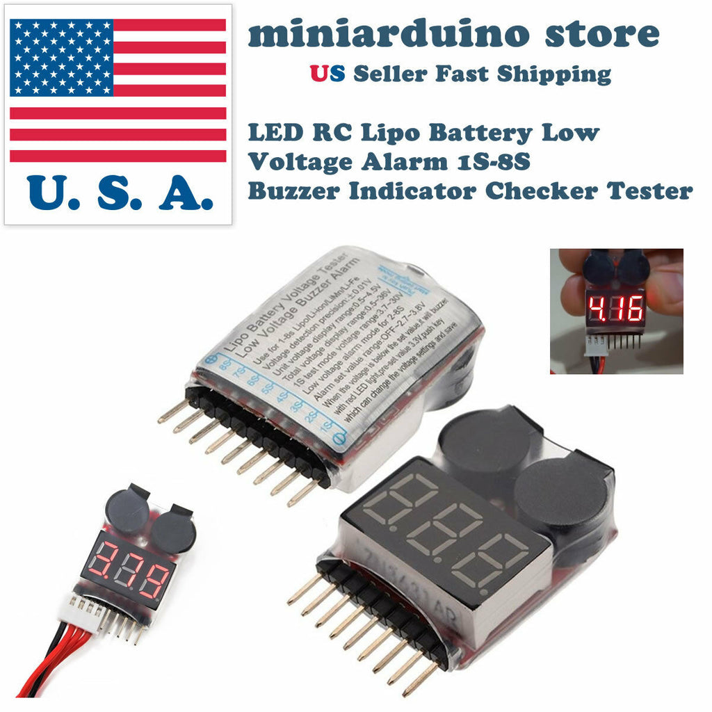 LED RC Lipo Battery Low Voltage Alarm 1S-8S Buzzer Indicator Checker Tester USA - arduino - Toys & Hobbies:Radio Control & Control Line:RC Model Vehicle Parts & Accs:Other RC Parts & Accs