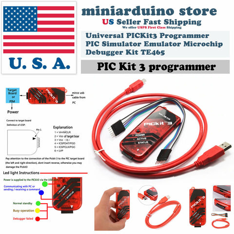 Universal PICKit3 Programmer PIC PICKit 3 Emulator Microchip Debugger Kit TE465 - arduino - Business & Industrial:Electrical Equipment & Supplies:Electronic Components & Semiconductors:Semiconductors & Actives:Integrated Circuits (ICs):Microcontrollers & Programmers