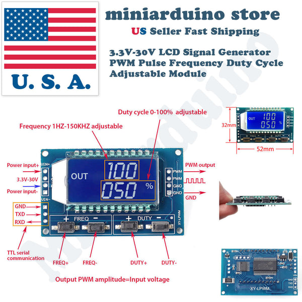 Signal Generator PWM Pulse Frequency Duty Cycle Adjustable Module LCD Display - arduino - Business & Industrial:Test, Measurement & Inspection:Signal Sources & Conditioning:Other Signal Sources & Conditioning
