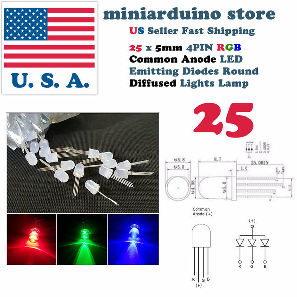 25pcs 5mm 4pin Common Anode Diffused RGB Tri-Color Red Green Blue LED Diodes USA - arduino - Business & Industrial:Electrical Equipment & Supplies:Electronic Components & Semiconductors:LEDs, LCDs & Display Modules:Individual LEDS
