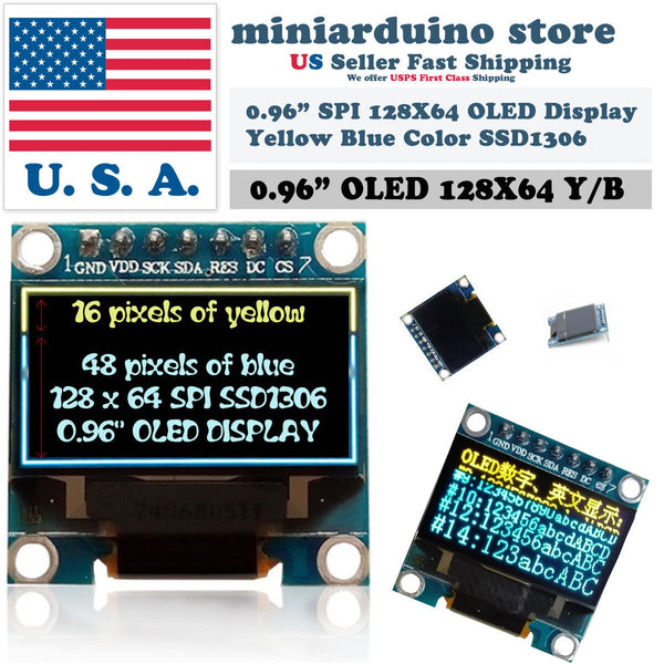 "0.96"" SPI 128X64 LED OLED LCD Yellow Blue Color Display Arduino SSD1306 7 pin - arduino - Business & Industrial:Electrical Equipment & Supplies:Electronic Components & Semiconductors:LEDs, LCDs & Display Modules:LCD Display Modules"