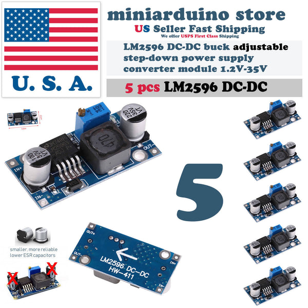 5 PCS LM2596 DC-DC Buck Adjustable step-down Power Supply Converter Module - arduino - Business & Industrial:Electrical Equipment & Supplies:Electronic Components & Semiconductors:Semiconductors & Actives:Power Regulators & Converters