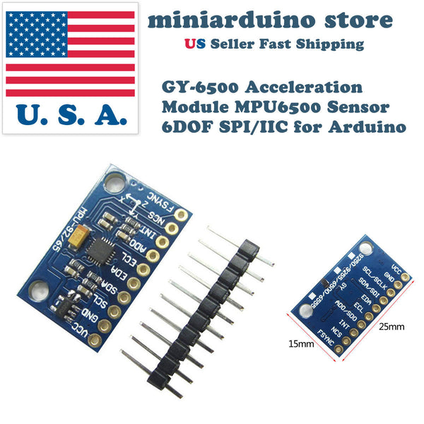 GY-6500 MPU6500 6DOF Acceleration Gyro Sensor Module I2C Breakout SPI Interface - arduino - Business & Industrial:Electrical Equipment & Supplies:Sensors:Acceleration Sensors