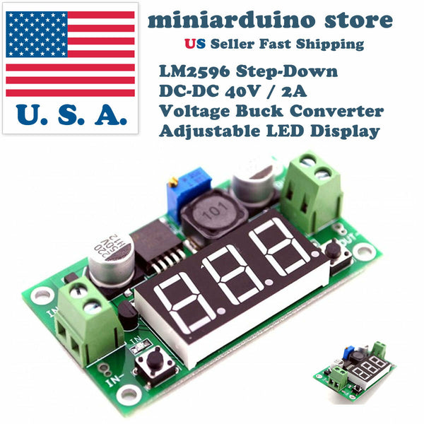LM2596 Step-Down DC-DC 40V / 2A Voltage Buck Converter Adjustable LED Display US - arduino - Business & Industrial:Electrical Equipment & Supplies:Electronic Components & Semiconductors:Semiconductors & Actives:Power Regulators & Converters