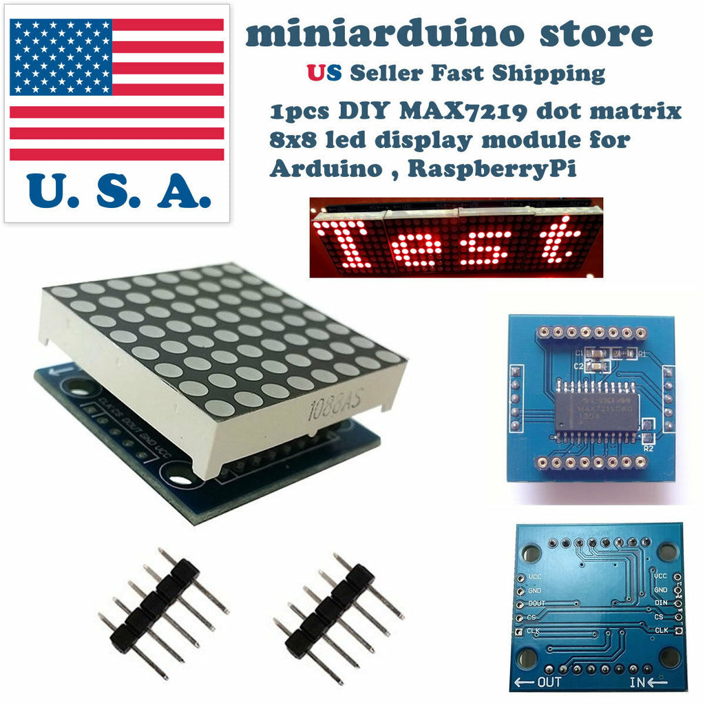 MAX7219 dot matrix 8x8 8*8 led display module Arduino MCU DIY Raspberry pi USA - arduino - Business & Industrial:Electrical Equipment & Supplies:Electronic Components & Semiconductors:LEDs, LCDs & Display Modules:LCD Display Modules