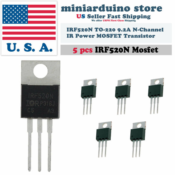 5pcs IRF520 IRF520N N-Channel IR Power MOSFET Transistor TO-220 Arduino - arduino - Business & Industrial:Electrical Equipment & Supplies:Electronic Components & Semiconductors:Semiconductors & Actives:Transistors