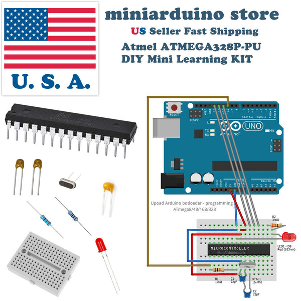 ATmega328P DIY arduino Mini Learning Kit 22pF 100nF 16MHz crystal breadboard - arduino - Business & Industrial:Electrical Equipment & Supplies:Electronic Components & Semiconductors:Semiconductors & Actives:Integrated Circuits (ICs):Other Integrated Circuits