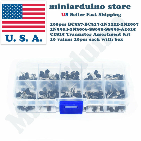 200pcs NPN PNP Transistor Assortment Kit Box BC337 BC327 2N2222 2N2907 2N3904 .. - arduino - Business & Industrial:Electrical Equipment & Supplies:Electronic Components & Semiconductors:Semiconductors & Actives:Transistors