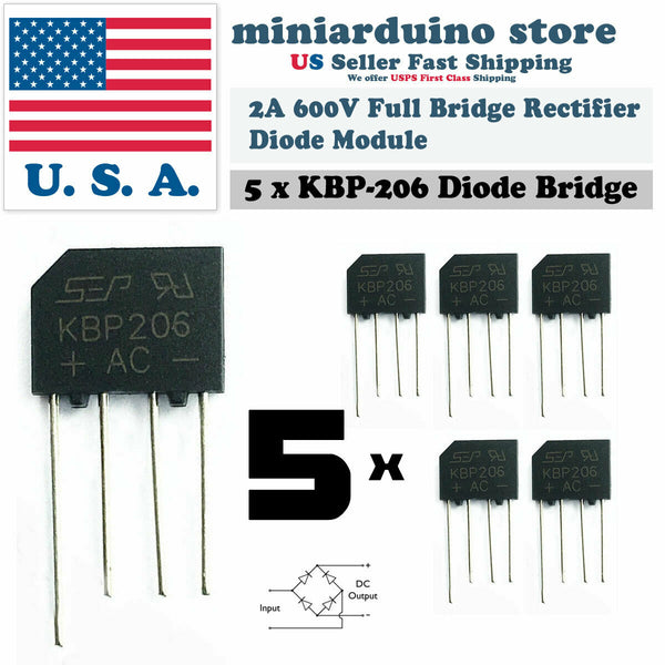 5PCS KBP206 Generic Diode Full Bridge Rectifier 2A 600V 4PIN - arduino - Business & Industrial:Electrical Equipment & Supplies:Electronic Components & Semiconductors:Semiconductors & Actives:Diodes:Bridge Rectifier Modules