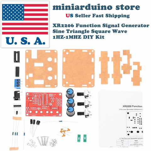 XR2206 Function Signal Generator DIY Kit Sine Output 1HZ-1MHZ + acrylic case USA - arduino - Business & Industrial:Test, Measurement & Inspection:Signal Sources & Conditioning:Signal Generators