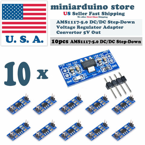 10pcs AMS1117-5.0 5.0V Step-Down Linear Voltage Regulator Module 6-12V in 5V out - arduino - Business & Industrial:Electrical Equipment & Supplies:Electronic Components & Semiconductors:Semiconductors & Actives:Power Regulators & Converters