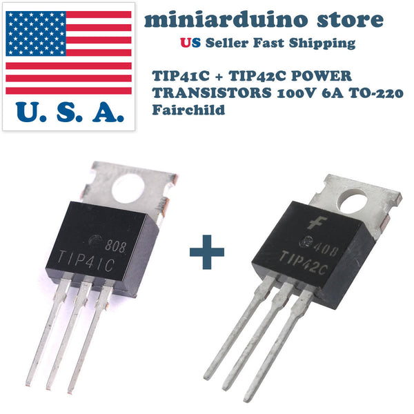 10 pcs - 5 x TIP41C and 5 x TIP42C POWER TRANSISTOR 100V 6A TO-220 Fairchild - arduino - Business & Industrial:Electrical Equipment & Supplies:Electronic Components & Semiconductors:Semiconductors & Actives:Transistors