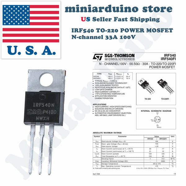 5 PCS IRF540N TO-220 IRF540 N-CHANNEL POWER MOSFETS - arduino - Business & Industrial:Electrical Equipment & Supplies:Electronic Components & Semiconductors:Semiconductors & Actives:Transistors