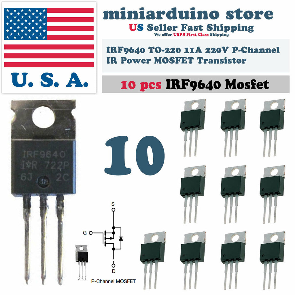 "10pcs IRF9640 IRF 9640 Power MOSFET 11A 200V TO-220 ""IR"" P-Channel Transistor - arduino - Business & Industrial:Electrical Equipment & Supplies:Electronic Components & Semiconductors:Semiconductors & Actives:Transistors"