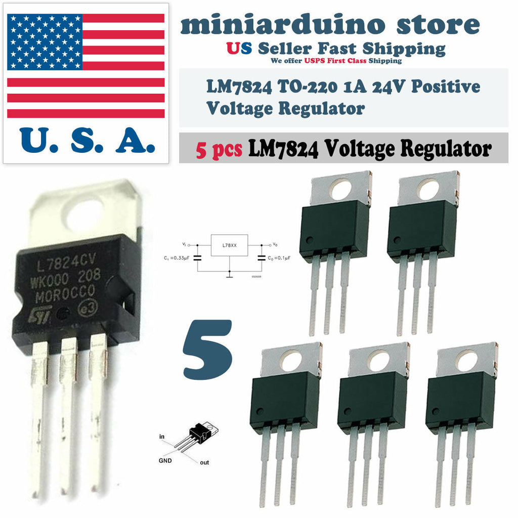 5pcs L7824CV L7824 LM7824 ST TO-220 Positive Voltage Regulator 24V 1A - arduino - Business & Industrial:Electrical Equipment & Supplies:Electronic Components & Semiconductors:Semiconductors & Actives:Power Regulators & Converters