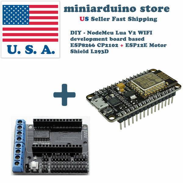 NodeMCU ESP-12E ESP8266 WiFi LUA CP2102 V2 and motor shield L293D DIY robot USA - arduino - Business & Industrial:Electrical Equipment & Supplies:Electronic Components & Semiconductors:Other Electronic Components