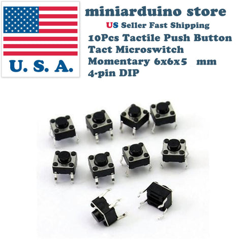 10Pcs 6x6x5mm PCB Momentary Tactile Tact Push Button Switch 4 Pin DIP Micro Mini - arduino - Business & Industrial:Electrical Equipment & Supplies:Switches:Pushbutton Switches