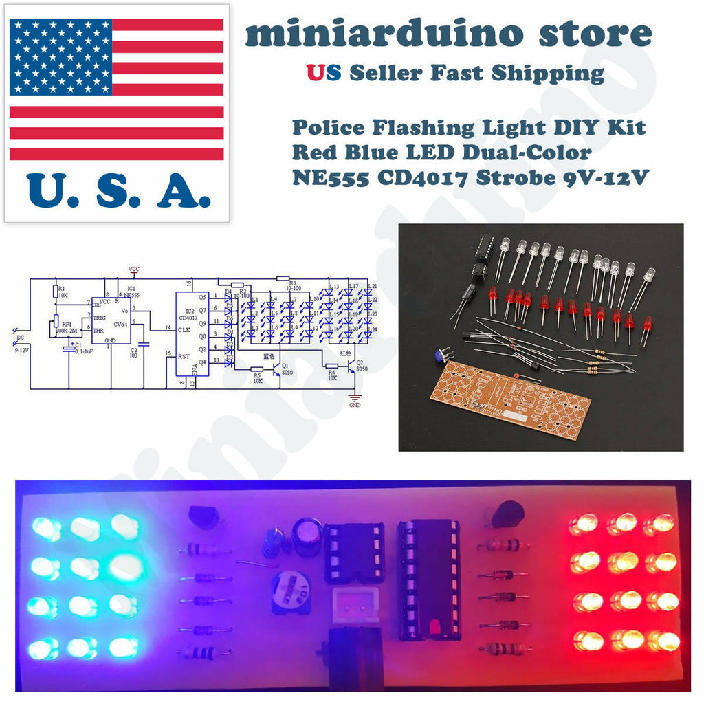 Police Flashing Light DIY Kit Red Blue LED Dual-Color NE555 CD4017 Strobe 9V-12V - arduino - Consumer Electronics:Other Consumer Electronics
