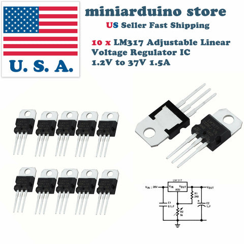 10pcs x LM317T LM317 Adjustable Linear Voltage Regulator IC 1.2V to 37V 1.5A - arduino - Business & Industrial:Electrical Equipment & Supplies:Electronic Components & Semiconductors:Semiconductors & Actives:Power Regulators & Converters