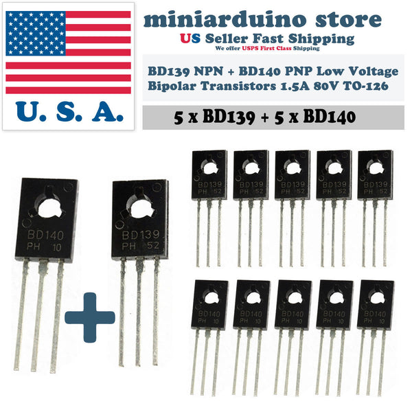 5pcs BD139 + 5pcs BD140 TO-126 Silicon NPN PNP Transistor Low Voltage 80V 1.5A - arduino - Business & Industrial:Electrical Equipment & Supplies:Electronic Components & Semiconductors:Semiconductors & Actives:Transistors