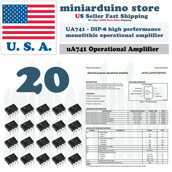 20pcs UA741CN UA741 LM741 IC ST DIP-8 Operational Amplifier - arduino - Business & Industrial:Electrical Equipment & Supplies:Electronic Components & Semiconductors:Semiconductors & Actives:Integrated Circuits (ICs):Other Integrated Circuits