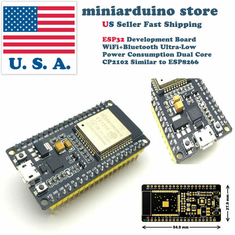 ESP32 2.4GHz WiFi+Bluetooth CP2102 Wireless Dual Core Mode Arduino Programmable - arduino - Business & Industrial:Electrical Equipment & Supplies:Electronic Components & Semiconductors:Semiconductors & Actives:Development Kits & Boards
