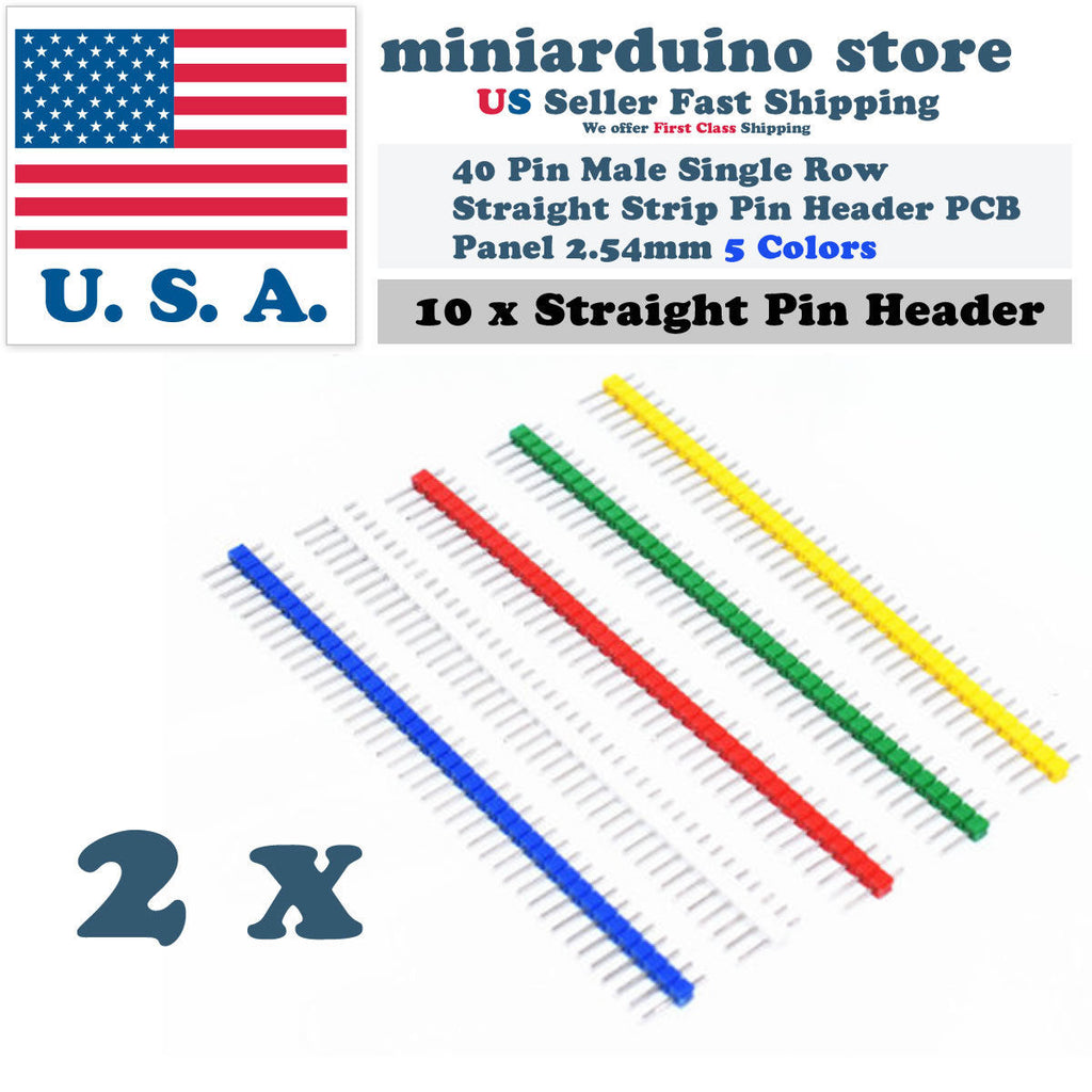 10Pcs 40Pin Male Single Row Straight Strip Pin Header PCB Panel 2.54mm 5 Colors - arduino - Business & Industrial:Electrical Equipment & Supplies:Wire & Cable Connectors:Other Wire & Cable Connectors