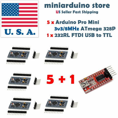 5Pcs Atmega328P Arduino Pro Mini Module 3.3V 8MHz 1Pcs FT232RL FTDI USB TTL USA - arduino - Business & Industrial:Electrical Equipment & Supplies:Electronic Components & Semiconductors:Semiconductors & Actives:Integrated Circuits (ICs):Microcontrollers & Programmers