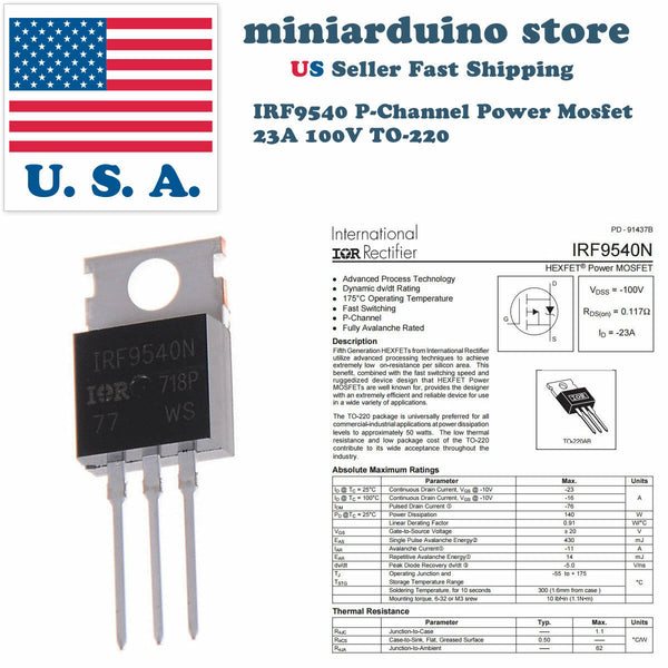 10pcs IRF9540 IRF9540N P-Channel Power MOSFET 23A 100V TO-220 IR Transistor - arduino - Business & Industrial:Electrical Equipment & Supplies:Electronic Components & Semiconductors:Semiconductors & Actives:Transistors