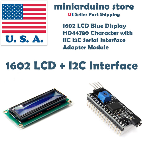 1602 BLUE LCD 16x2 HD44780 Character IIC I2C Serial Interface Adapter Module Display - arduino - Business & Industrial:Electrical Equipment & Supplies:Electronic Components & Semiconductors:LEDs, LCDs & Display Modules:LCD Display Modules