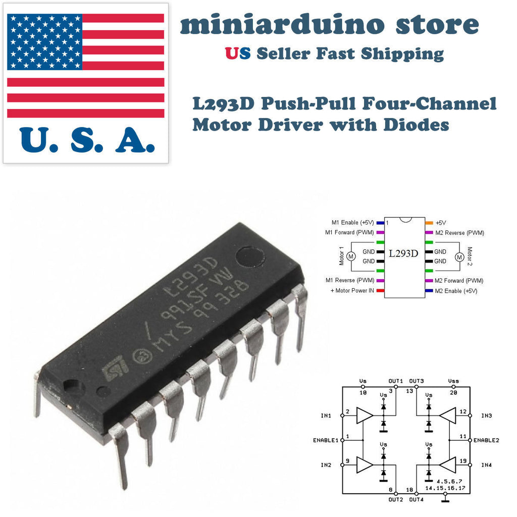 4pcs L293D L293 DIP Push-Pull Four-Channel Motor Driver Controller with Diodes - arduino - Business & Industrial:Electrical Equipment & Supplies:Electronic Components & Semiconductors:Semiconductors & Actives:Integrated Circuits (ICs):Other Integrated Circuits