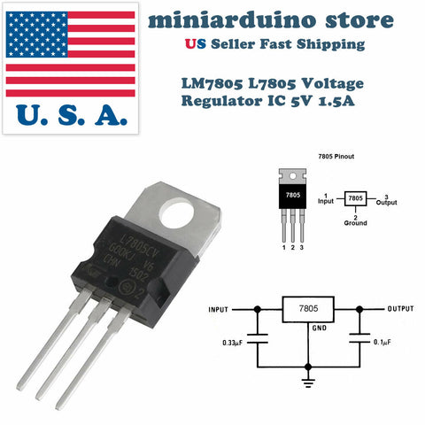 5 x LM7805 L7805 7805 IC Positive Voltage Regulator 5V 1.5A TO-220 USA - arduino - Business & Industrial:Electrical Equipment & Supplies:Electronic Components & Semiconductors:Semiconductors & Actives:Power Regulators & Converters