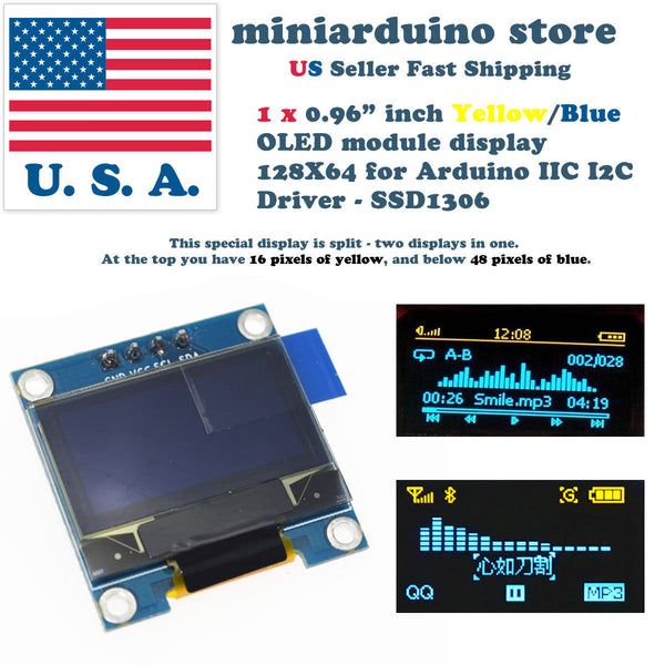 "0.96"" I2C IIC 128X64 LED OLED LCD  Display Arduino Yellow Blue Color SSD1306 US - arduino - Business & Industrial:Electrical Equipment & Supplies:Electronic Components & Semiconductors:LEDs, LCDs & Display Modules:LCD Display Modules"