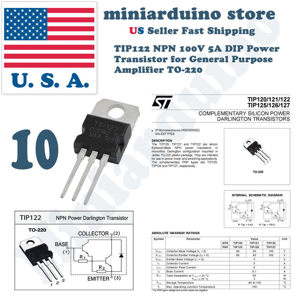 10pcs TIP122 NPN Transistor Complementary 100V 5A Amplifier TO-220 - arduino - Business & Industrial:Electrical Equipment & Supplies:Electronic Components & Semiconductors:Semiconductors & Actives:Transistors